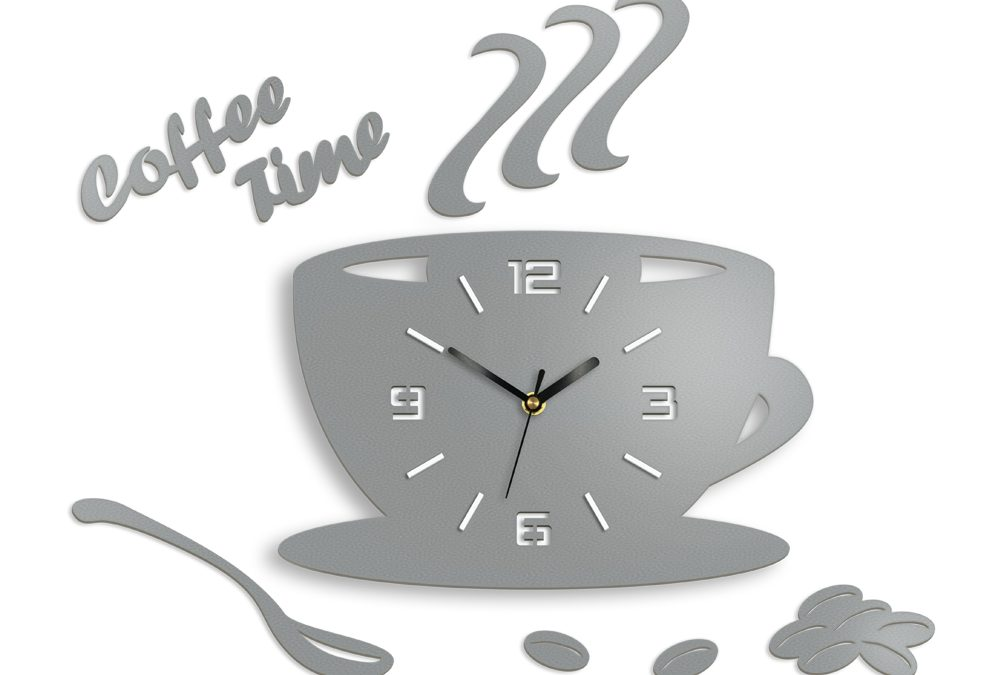 Ceas de perete COFFE TIME 3D STONE GRAY